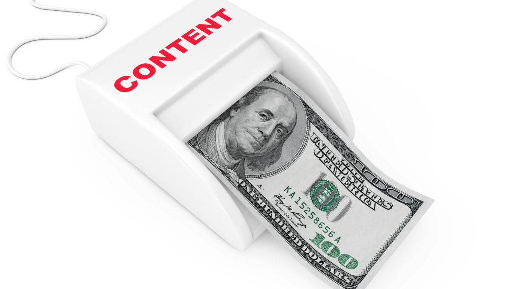 money coming out of content machine-represents ideas for monetizing a blog