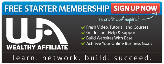 Ad on gray background with blue and red headlines explaining benefits of free starter membership that shows what should a new blogger do.