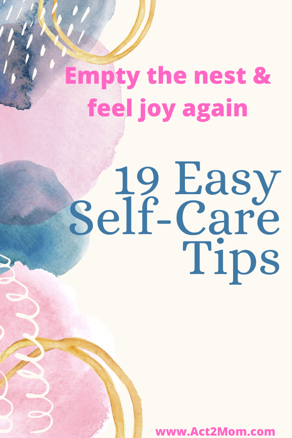 "Watercolor painting that says, ""19 Easy Self-Care Tips."""