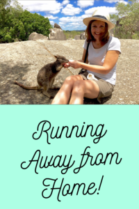 "Woman feeding a kangaroo over a caption that says, ""Running away from home."""